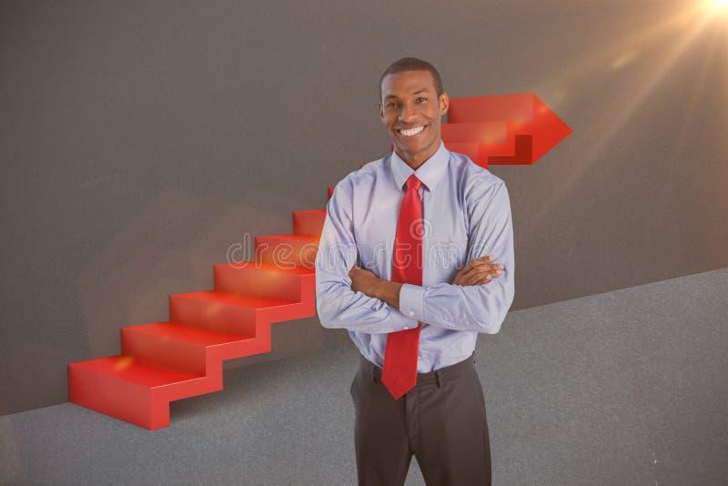 Composite image of elegant smiling afro businessman standing in office 3d. Elegant smiling Afro businessman standing in office against grey 3d stock image