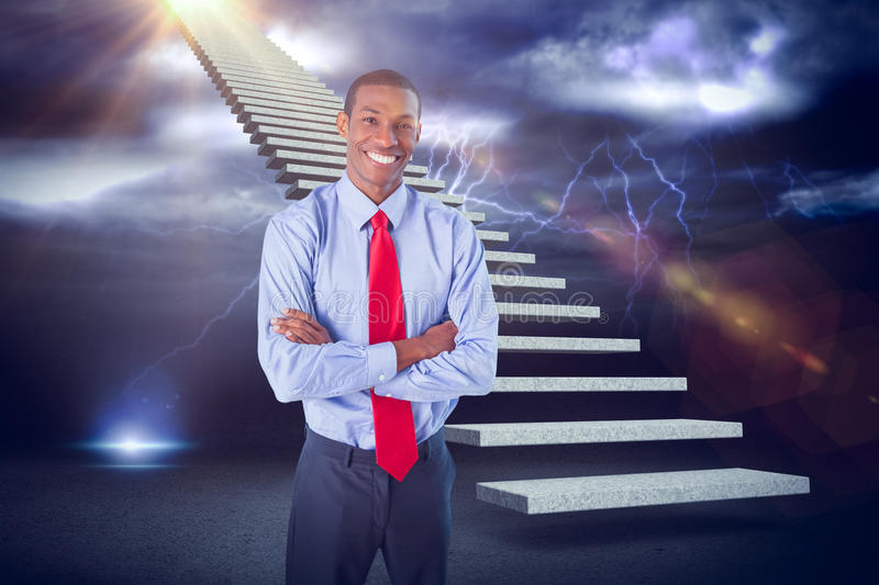 Composite image of elegant smiling afro businessman standing in office 3d. Elegant smiling Afro businessman standing in office against lightning with clouds 3d royalty free stock photo