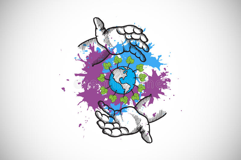 Composite image of environmentalism concept on paint splashes vector illustration