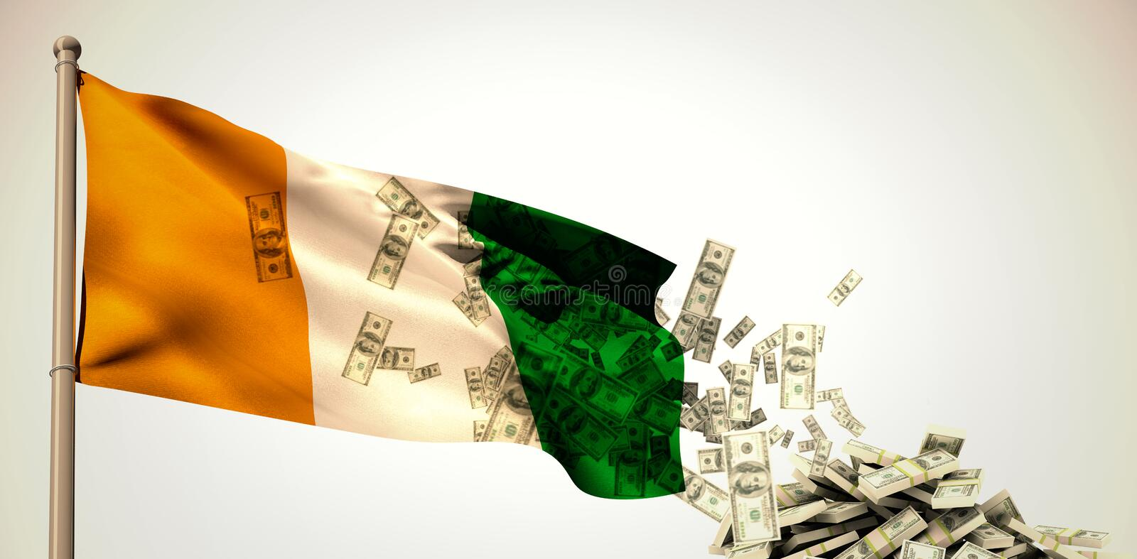 Composite image of falling dollars. Falling dollars against white background with vignette royalty free illustration
