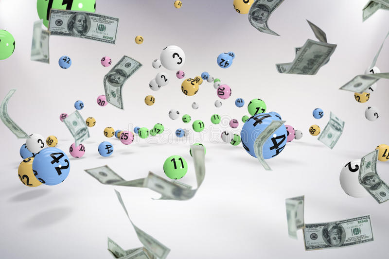 Composite image of falling one hundred dollar bills stock photo