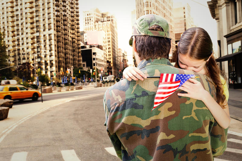 Composite image of father reunited with daughter royalty free stock photos