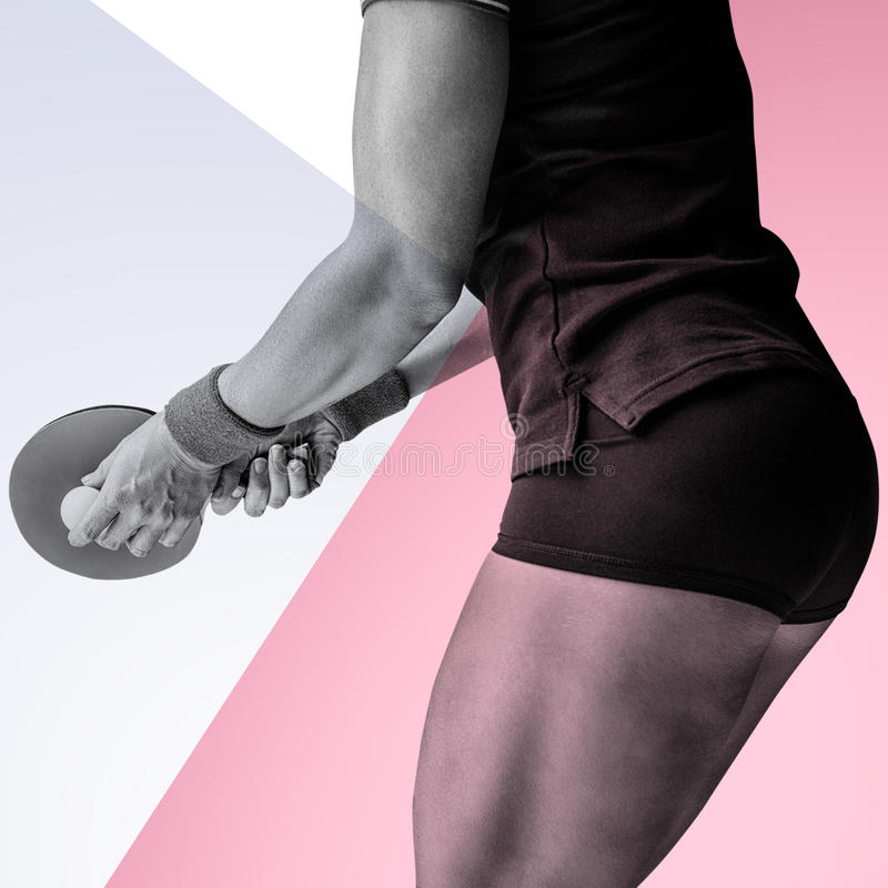 Composite image of female athlete playing ping pong royalty free stock photos
