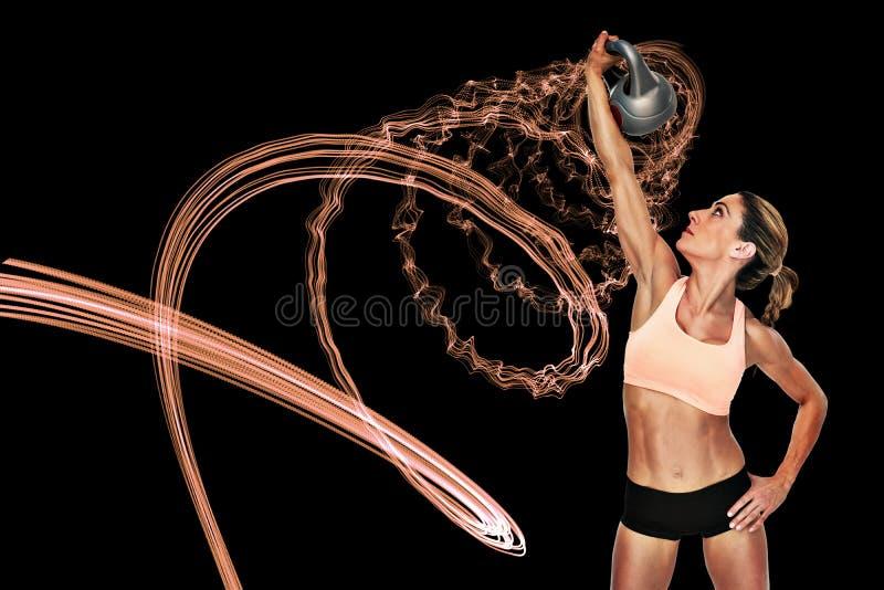 Composite image of female blonde crossfitter lifting kettlebell above head stock illustration