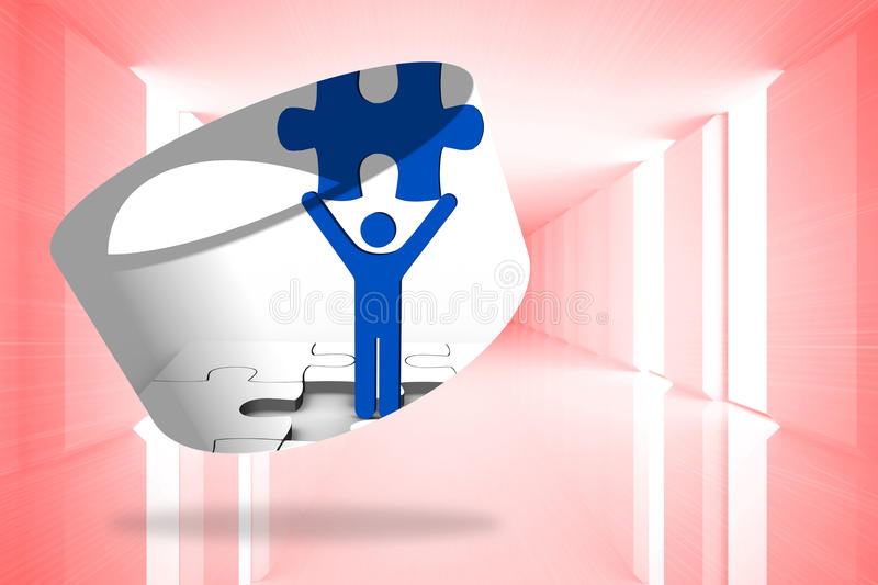 Composite image of figure holding jigsaw piece on abstract screen stock illustration