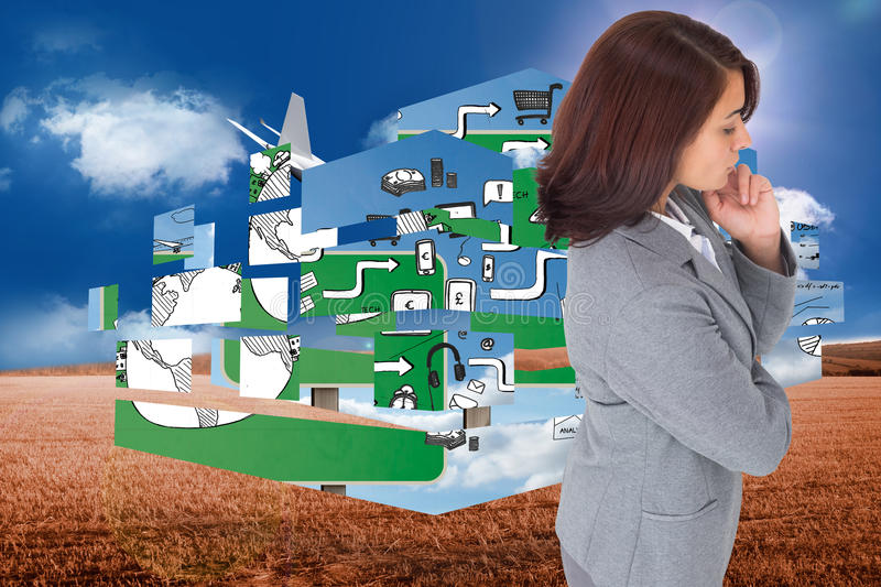 Composite image of focused businesswoman. Focused businesswoman against 3d plane flying over field stock photography