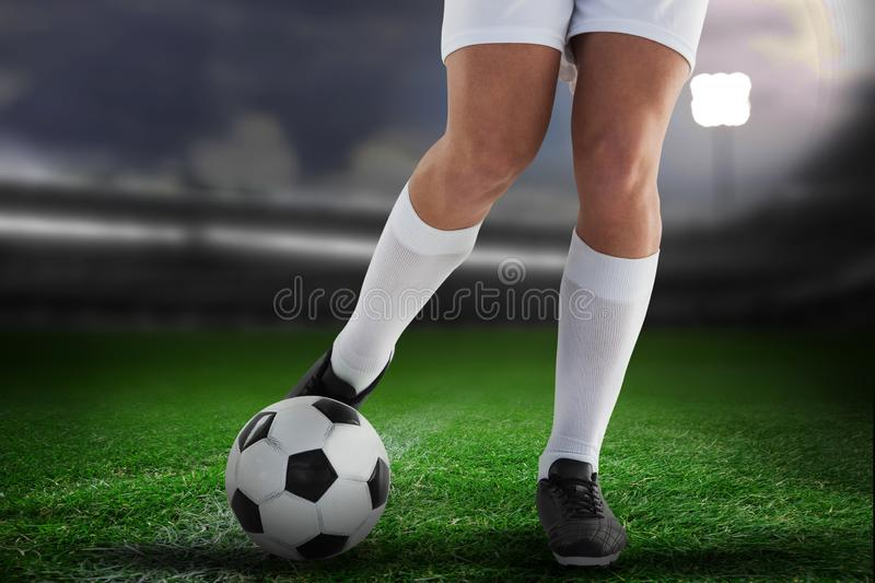 Composite image of football player stock photography
