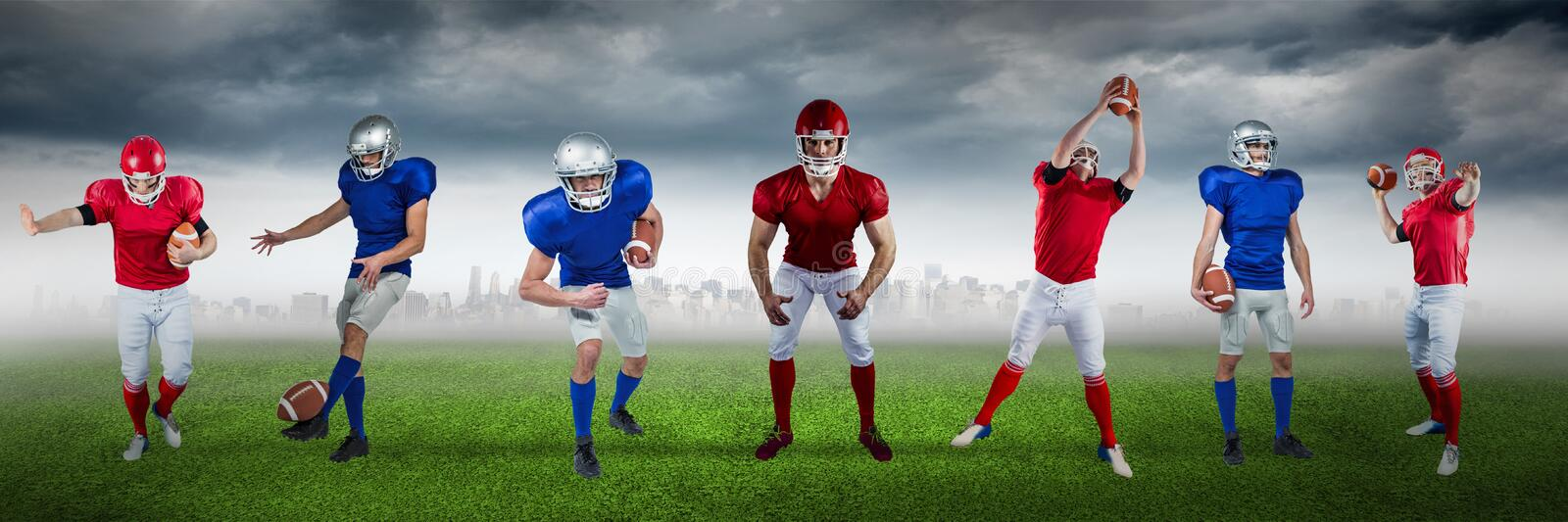 Composite image of football player on football field background stock photos