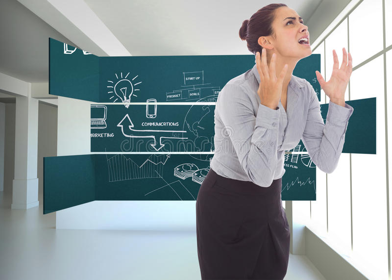 Composite image of frustrated businesswoman shouting. Frustrated businesswoman shouting against white room with screen royalty free stock photography