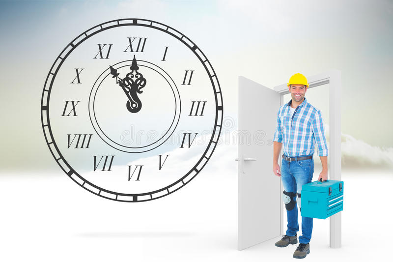 Composite image of full length portrait of repairman with toolbox royalty free stock image