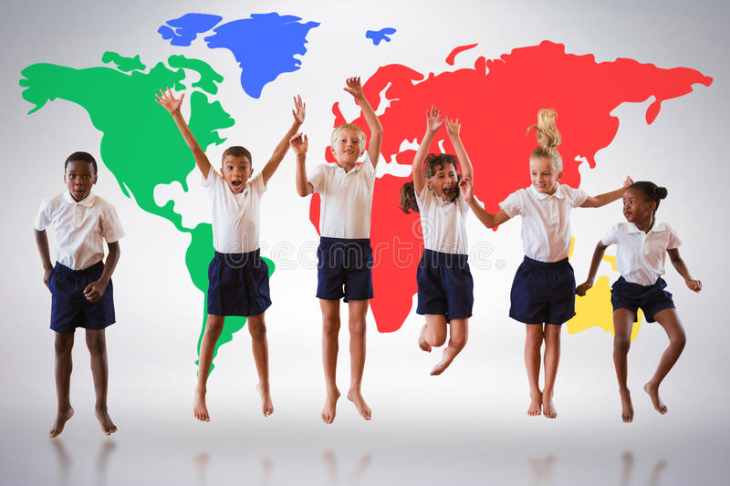 Composite image of full length of students in school uniforms jumping royalty free stock photography