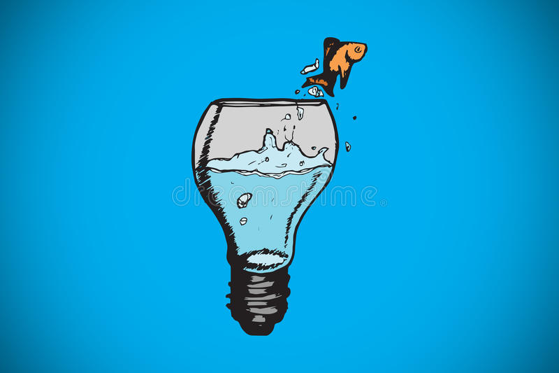 Composite image of goldfish jumping from light bulb bowl. Goldfish jumping from light bulb bowl against blue background with vignette royalty free illustration