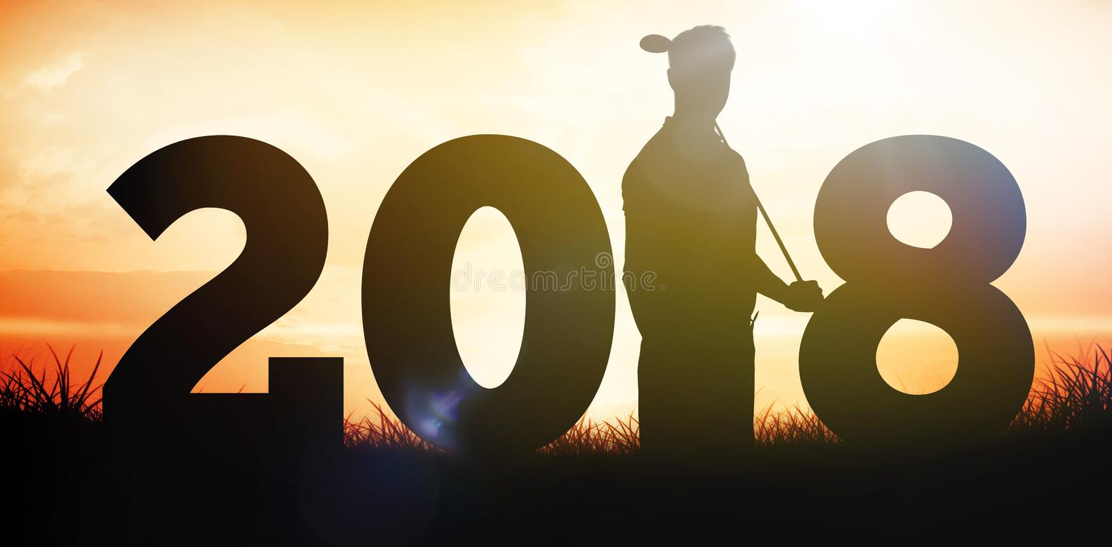 Composite image of golfer standing with one hand in the pocket royalty free stock photography