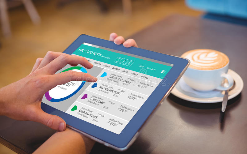 Composite image of graphic image of bank account web site. Graphic image of bank account web site against close-up of digital tablet and coffee on table Close-up stock images