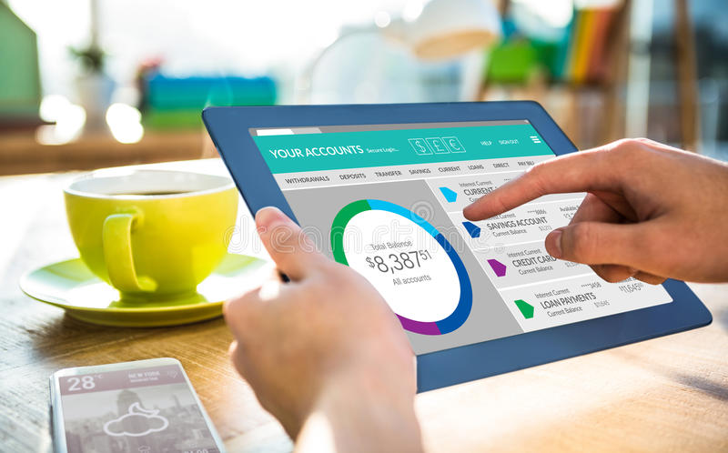 Composite image of graphic image of bank account web site. Graphic image of bank account web site against cropped image of hipster businessman using tablet stock photography