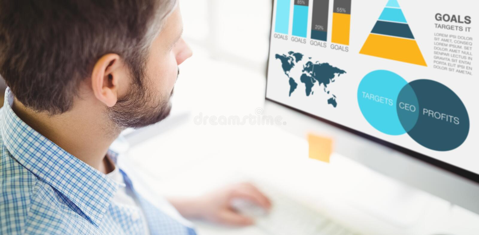 Composite image of graphic image of business presentation with charts and map. Graphic image of business presentation with charts and map against man working on royalty free stock photography