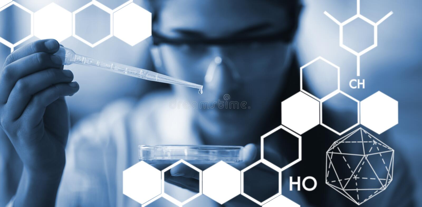 Composite image of graphic image of chemical structure. Graphic image of chemical structure against attentive schoolgirl experimenting in laboratory royalty free illustration