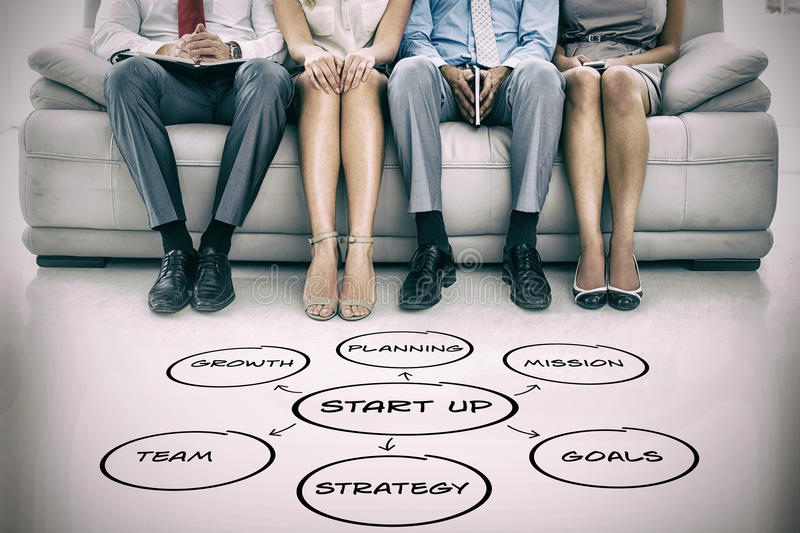 Composite image of graphic image of start up cycle icons. Graphic image of start up cycle icons against portrait of executives waiting for interview stock image
