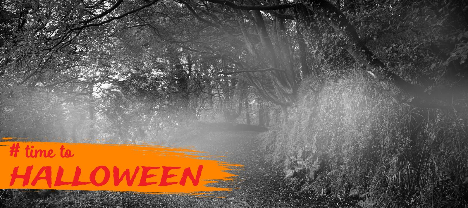 Composite image of graphic image of time to halloween text. Graphic image of time to Halloween text against dark way in the woods stock photos
