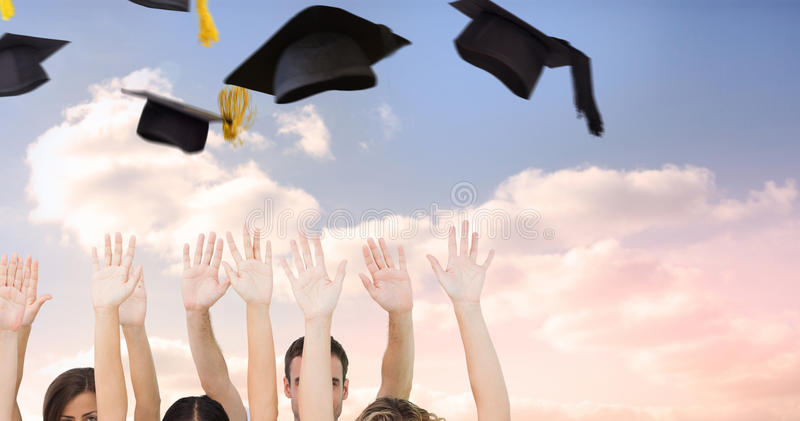 Composite image of group of people raising arms stock illustration