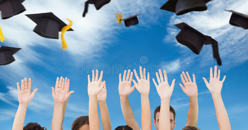 Composite image of group of people raising arms stock photography