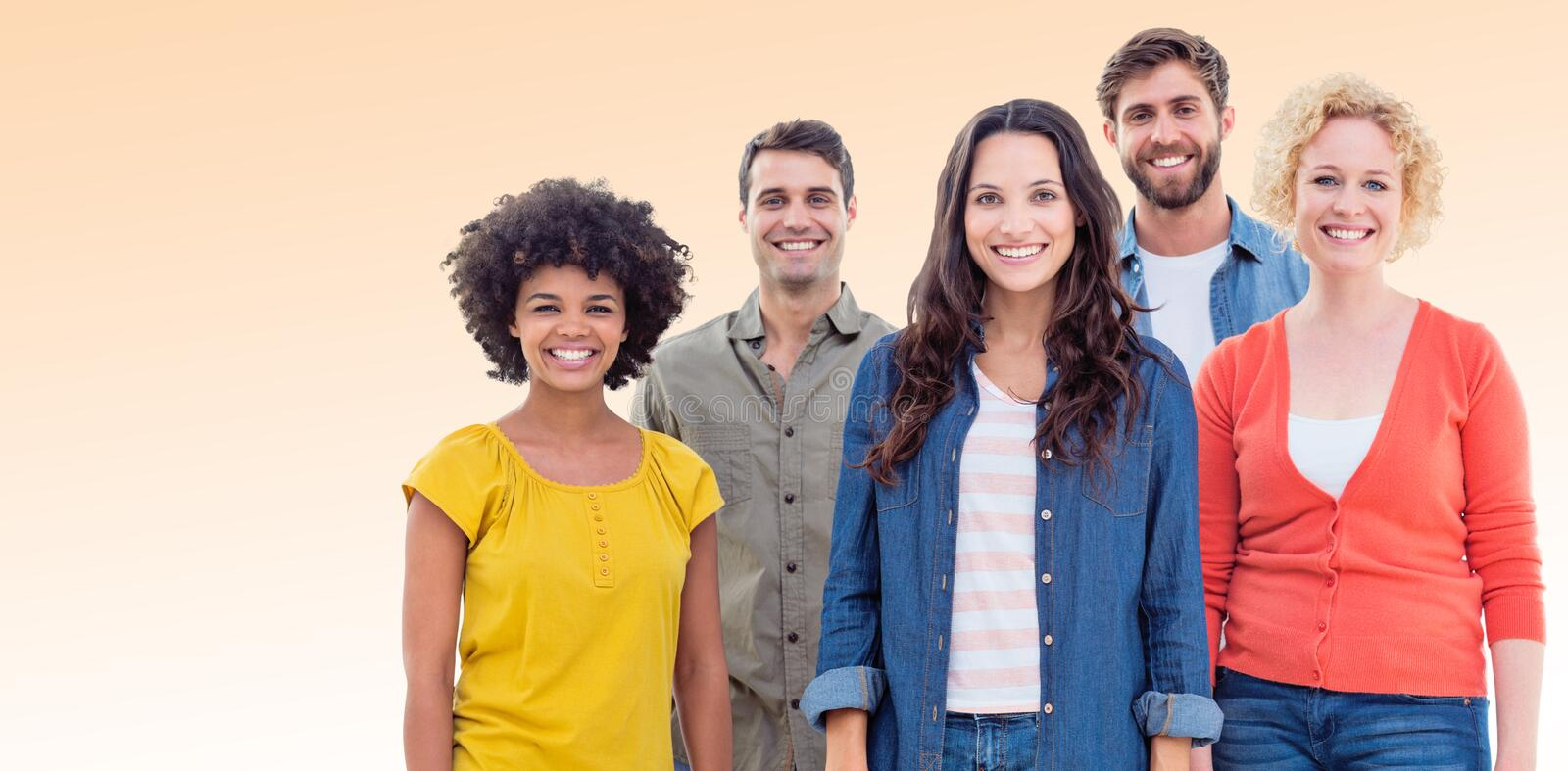 Composite image of group portrait of happy young colleagues. Group portrait of happy young colleagues against orange background royalty free stock photos