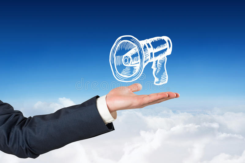 Composite image of hand presenting. Hand presenting against blue sky over clouds royalty free stock photos