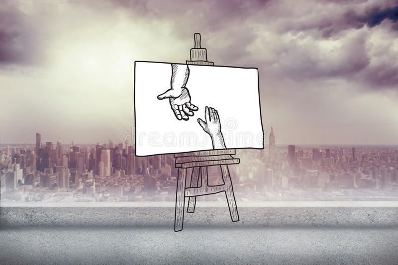 Composite image of hands joining doodle on easel. Hands joining doodle on easel against balcony overlooking city vector illustration