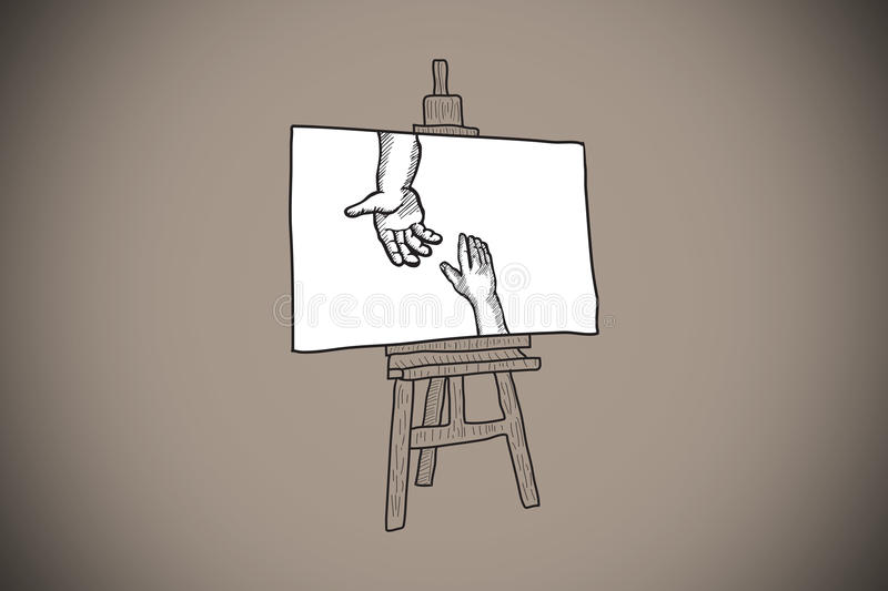 Composite image of hands joining doodle on easel. Hands joining doodle on easel against grey background with vignette vector illustration