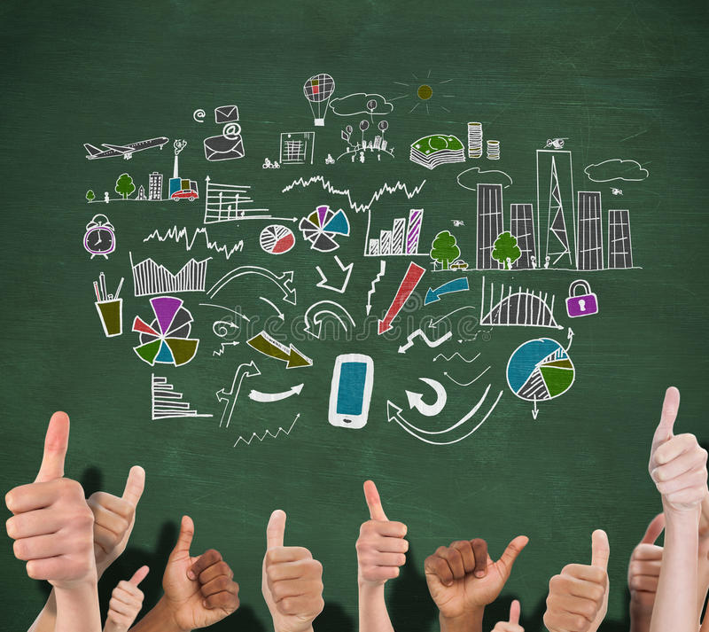 Composite image of hands showing thumbs up. Hands showing thumbs up against green chalkboard stock photo