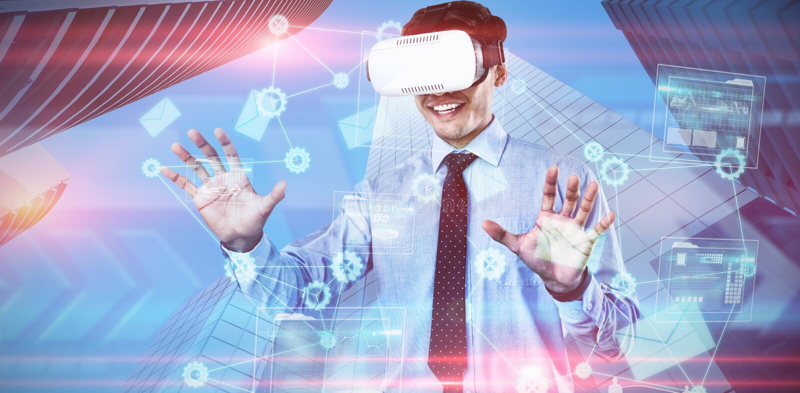 Composite image of happy businessman using vr glasses royalty free stock image