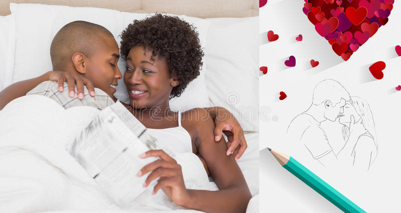 Composite image of happy couple lying in bed cuddling. Happy couple lying in bed cuddling against sketch of kissing couple with pencil vector illustration