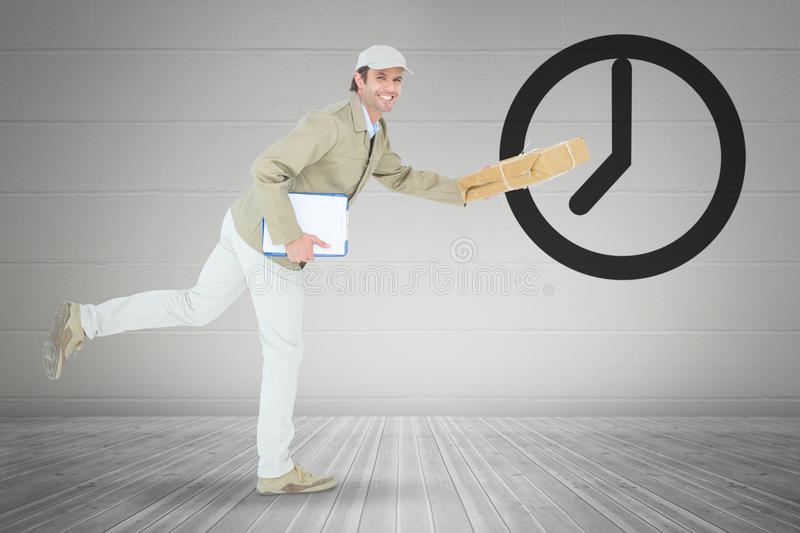 Composite image of happy delivery man running while holding parcel. Happy delivery man running while holding parcel against grey room vector illustration