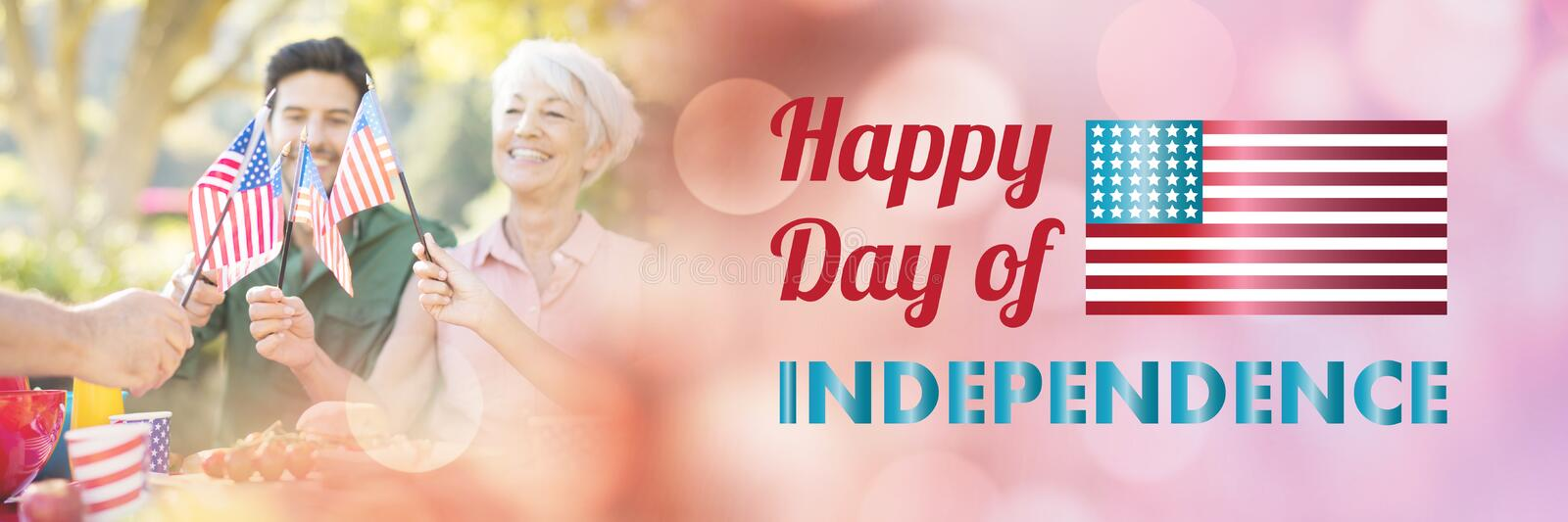 Composite image of happy independence day message over white background vector illustration