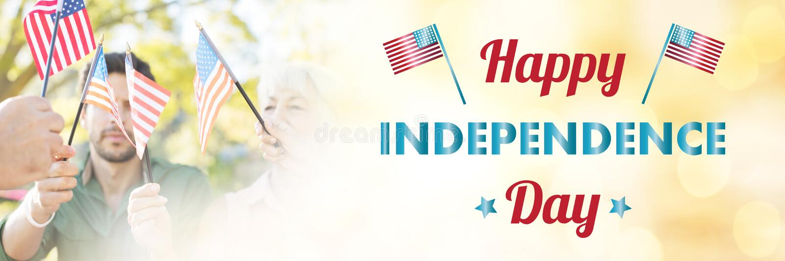 Composite image of happy independence day text over white background stock illustration