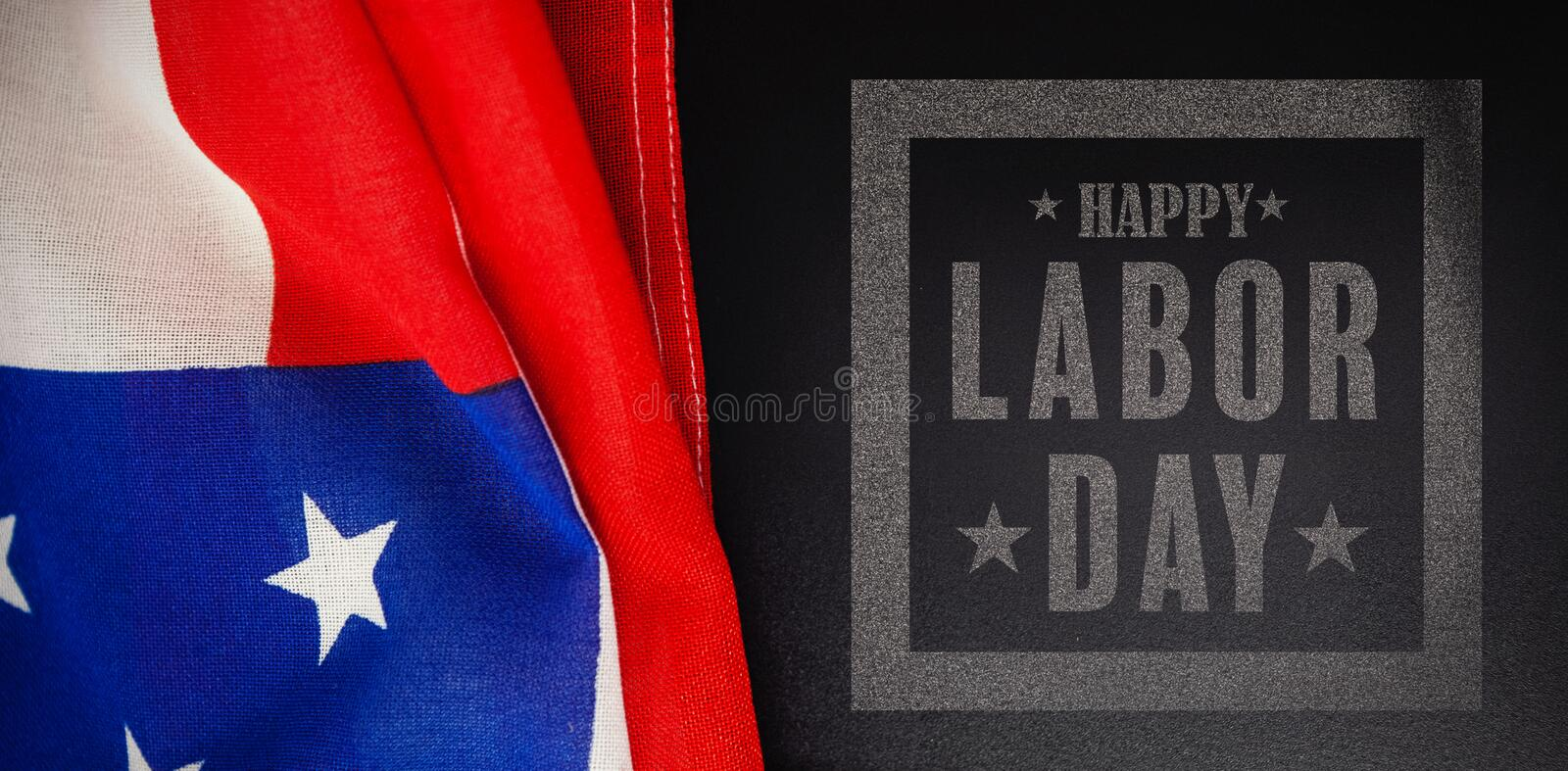 Composite image of composite image of happy labor day poster. Composite image of happy labor day poster against american flag and blank slate on wooden table stock image