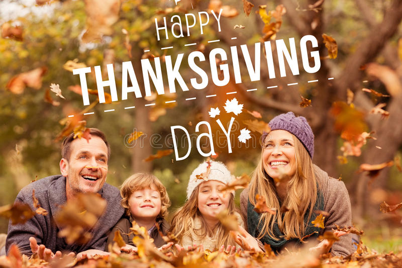 Composite image of happy thanksgiving stock photo