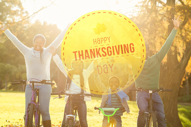 Composite image of happy thanksgiving stock photography