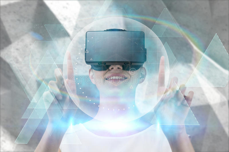 Composite image of happy woman pointing upwards while using virtual reality headset royalty free stock photo