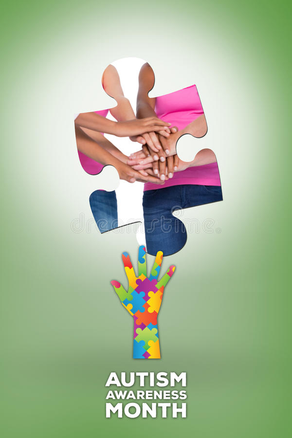 Composite image of happy women wearing breast cancer ribbons putting hands together smiling stock illustration