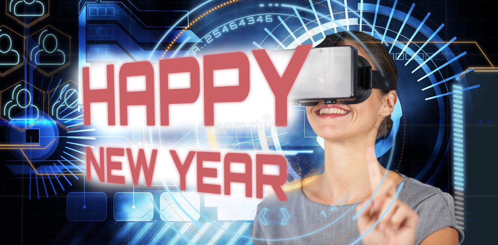 Composite image of happy young woman using virtual reality headset stock image