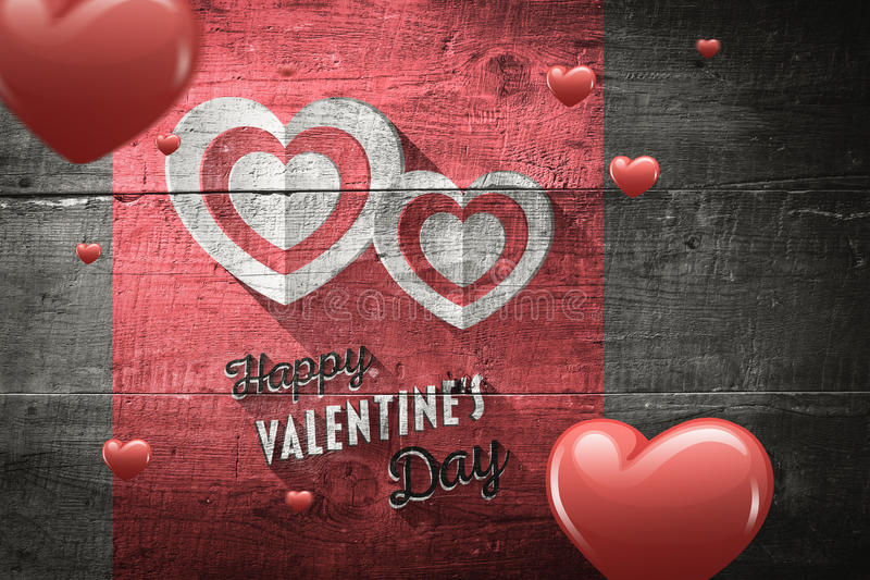 Composite image of hearts. Hearts against overhead of wooden planks vector illustration