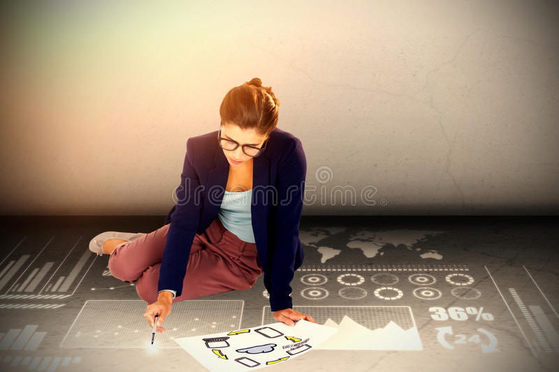 Composite image of high angle view of businesswoman holding chart with icons vector illustration