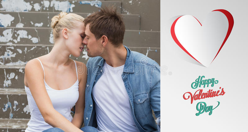 Composite image of hip young couple sitting on steps kissing. Hip young couple sitting on steps kissing against cute valentines message royalty free illustration
