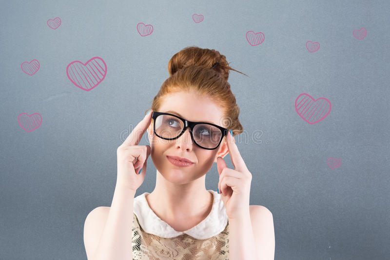 Composite image of hipster redhead looking up thinking stock photos