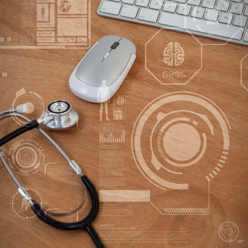 Composite image of human body organ development illustration over black background vector illustration