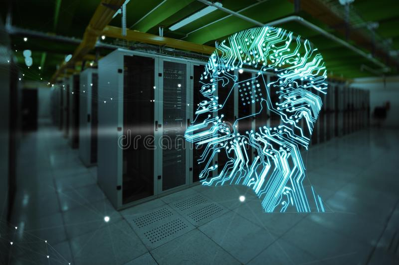 Composite image of human face over circuit board. Human face over circuit board against empty server room stock photography