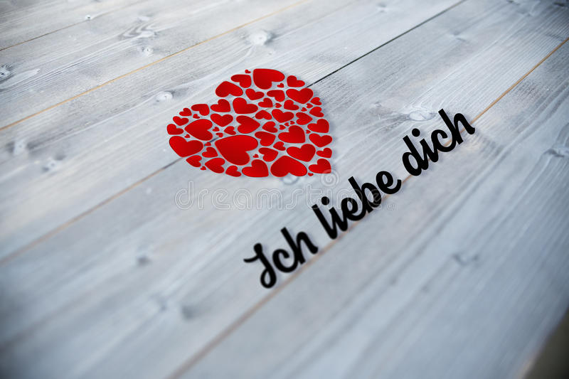 Composite image of ich liebe dich. Ich liebe dich against bleached wooden planks background vector illustration