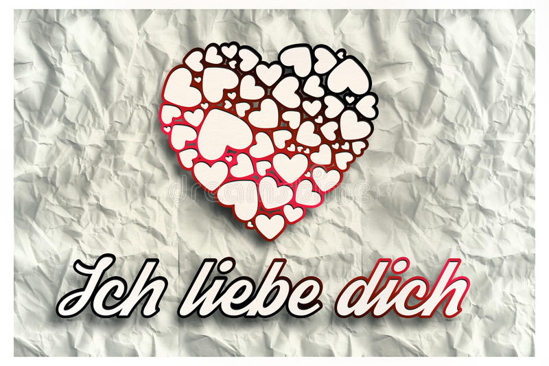 Composite image of ich liebe dich. Ich liebe dich against crumpled white page stock illustration