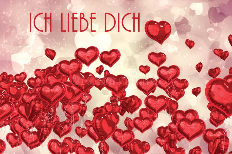 Composite image of ich liebe dich. Ich liebe dich against valentines heart design vector illustration